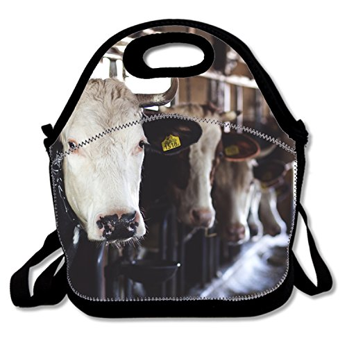 White Cow In Cattle House Kids Coloring Insulated Lunch Bag£¬Large Reusable Lunch Tote Bags For Women -