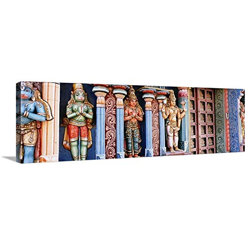 Canvas on Demand Premium Thick-Wrap Canvas Wall Art Print Entitled Statues of Hindu Gods Carved in a Temple, Tiruchirapalli, Tamil Nadu, India 36''x12'' by Canvas on Demand