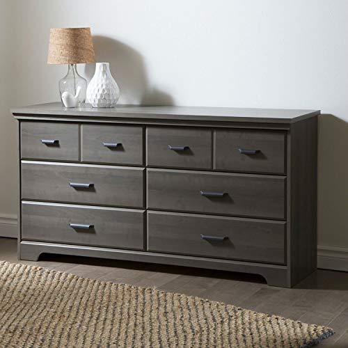 StarSun Depot Bedroom 6-Drawer Double Dresser Wardrobe Cabinet in Grey Maple Finish