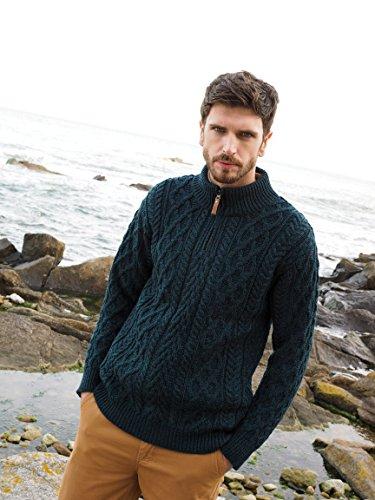 100% Merino Wool Zip Neck Aran Blackwatch ()