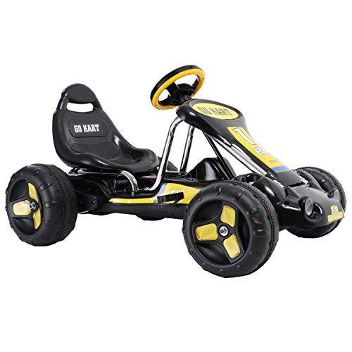 Go Kart 4 Wheel Kids Ride on Car Stealth Pedal Powered Outdoor Racer Black