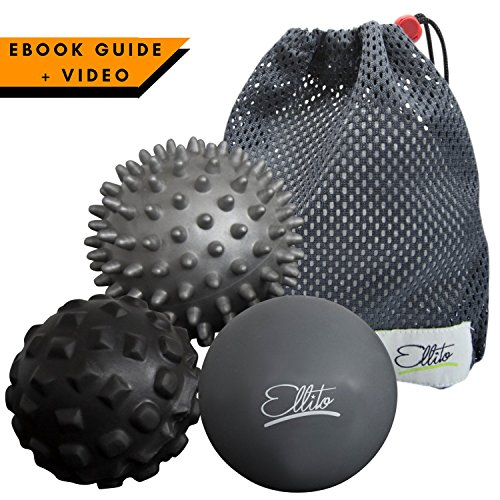 Massage Balls: Deep Tissue, Trigger point, Myofascial Release & Plantar Fasciitis Therapy. Lacrosse, Spiky & Foam Roller ball Yoga Therapy. Set of 3 + VIDEO GUIDE +EBOOK
