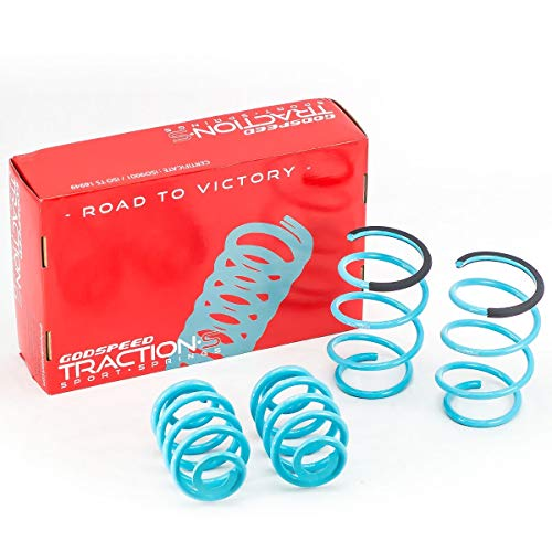 Godspeed LS-TS-BW-0006 Traction-S Performance Lowering Springs, Reduce Body Roll, Improved Handling, Set of 4 ()