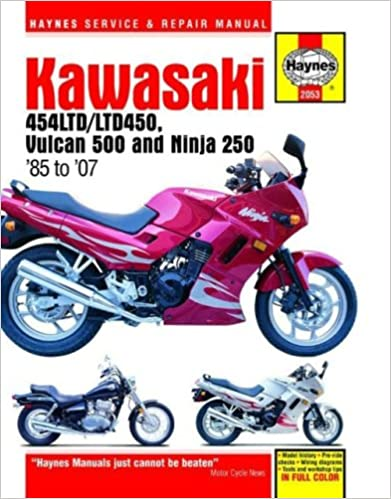kawasaki en450 500 twins ninja 250 1985 2007 motorcycle kawasaki en450 500 twins ninja 250 1985 2007 motorcycle repair manual 1st edition