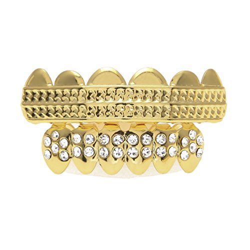 Golden Dental Set Two-Row Texture Shape Tooth Mouth Teeth Cap Hip Hop Bling Grillz - Teeth Veneer Bling