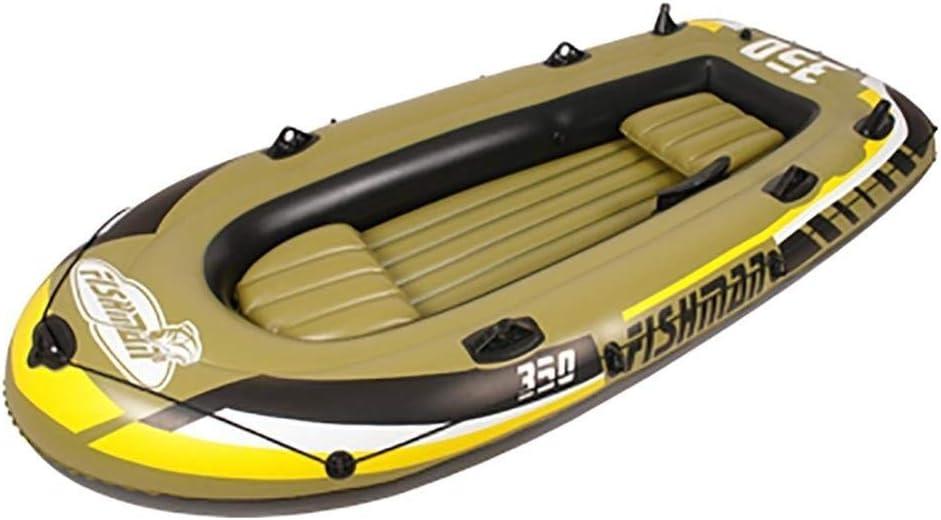 2/3/4/5人用エクスカーションインフレータブルカヤック2本入り、高出力エア式電動ポンプ - 釣り人とレクリエーションの上に載っている軽量漁船島航海 - 黄色  3 people