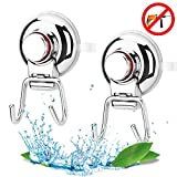 2 Pcs Suction Cup Hooks, Shower Vacuum Hooks For Window Glass Door Holder, Bathroom Shower Hangers Stocking Towels Hooks With Heavy Bath Holders Accessories Hooks, Easy Storage wall Hooks
