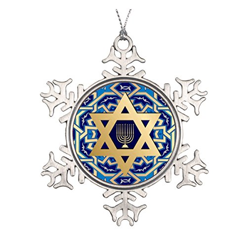 Happy Hanukkah! Star of David and Menorah Design Ceramic Round Christmas Ornament