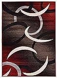 """Cheap Comfy Collection Samba Circles Design Area Rug Modern Contemporary Rug (Red, 4'11"""" X 6'11"""")"""