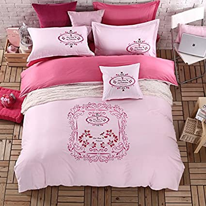 Amazon.com: Newrara Luxury 4pcs Embroidery Bedding Pink Romantic ...