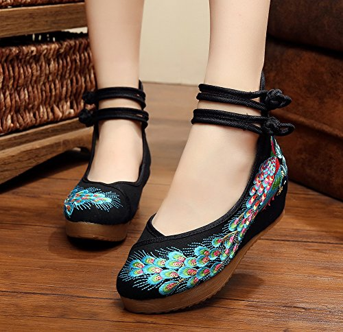 Shoes Oxfords Traditional AvaCostume Women Embroidered Breading Casual Black Sole Dancing Phoenix Chinese BqvnwEC4