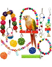 Youngever 12 Packs Bird Swing Toy, Parrot Toys Hanging Bell, Bird Cage Toys for Parrots, Finches, Macaws, Cockatiels