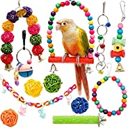 Youngever 12 Packs Bird Swing Toy, Parrot Toys Hanging Bell, Bird Cage Toys for Parrots, Finches, Macaws, Cock