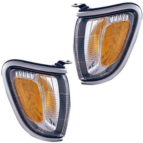 2001-2002-2003-2004 Toyota Tacoma 2WD & 4WD Pickup Truck Corner Park Lamp (With SILVER Trim Bezel) Turn Signal Marker Light Pair Set Right Passenger AND Left Driver Side (01 02 03 04)