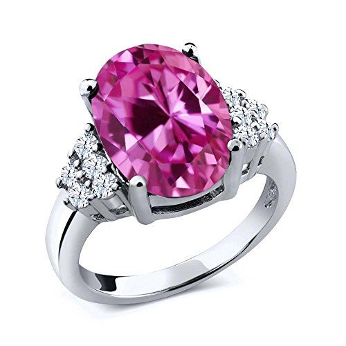 Gem Stone King 6.30 Ct Oval Pink Created Sapphire 925 Sterling Silver Ring (Size 8)