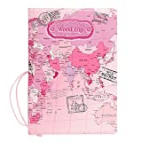 Passport Cover for Traveling World Trip (World Map Pink)