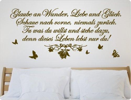 Dekodino Wandtattoo Glaube an an an Wunder, Liebe und Glück. Schaue nach vorne, niemals zurüc B00K0GE4V0 Wandtattoos & Wandbilder e80538