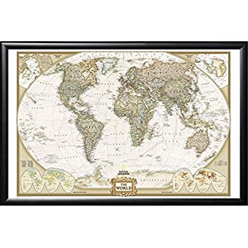 Amazon world map vintage style 36x24 wood framed poster art push pin map national geographic world map with push pins premium matte black frame gumiabroncs Image collections