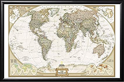 Framed World Map With Pins Amazon.com: Poster Art House Framed National Geographic World Map