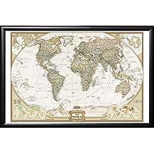 Push Pin Map National Geographic World Map with Push Pins Premium Matte Black Frame