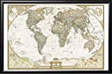 Push Pin Map National Geographic World Map with Push Pins Premium Matte Black Frame