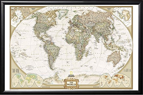 Push Pin Map National Geographic World Map with Push Pins Premium Matte Black Frame by Poster Art House