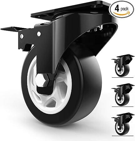 Polyurethane Castors With Brake /Φ4 // 5//6 // 8in Industrial Heavy Duty Casters Trolley Furniture Caster,load 800kg,2 Swivel Casters+2 Brake C Office Chair Caster Wheels FANYF X4 Swivel Castor Wheel