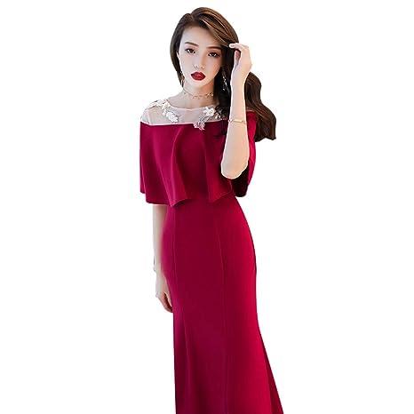 Vestido De Dama De Honor De La Boda Vino Retro Rojo Cuello