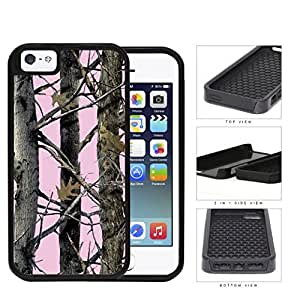 Pink Screen Woods Camo 2-Piece Dual Layer High Impact Rubber Silicone Cell Phone Case Apple iPhone 5 5s