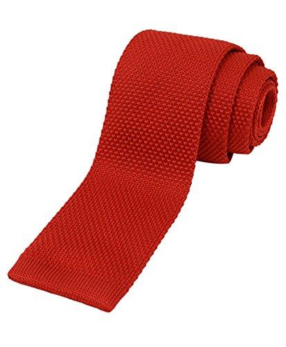 Men's Solid Knit Slim Tie (Red) (Solid Knit Tie)