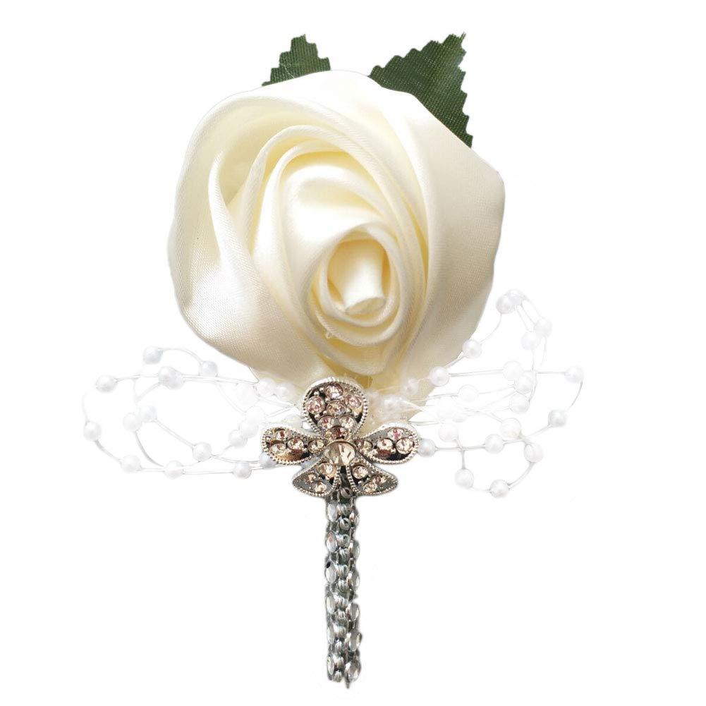 YOYOYU-ART-HOME-DECOR-2-PcsPack-Wedding-Corsages-Boutonniere-Groom-Diamond-Crystal-Wedding-Flowers-Pearl-Beaded-Brooch-Flowers-Cream