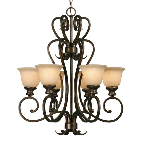 (Golden Lighting 8063-6 Bus Heartwood 6 Light Chandelier, Burnt Sienna)