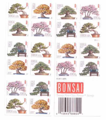 Bonsai Tree Booklet Pane of 20 x Forever Stamps Scott 4618-22 by USPS ()