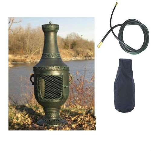 Qbc Bundled Blue Rooster Venetian Chiminea With Natural