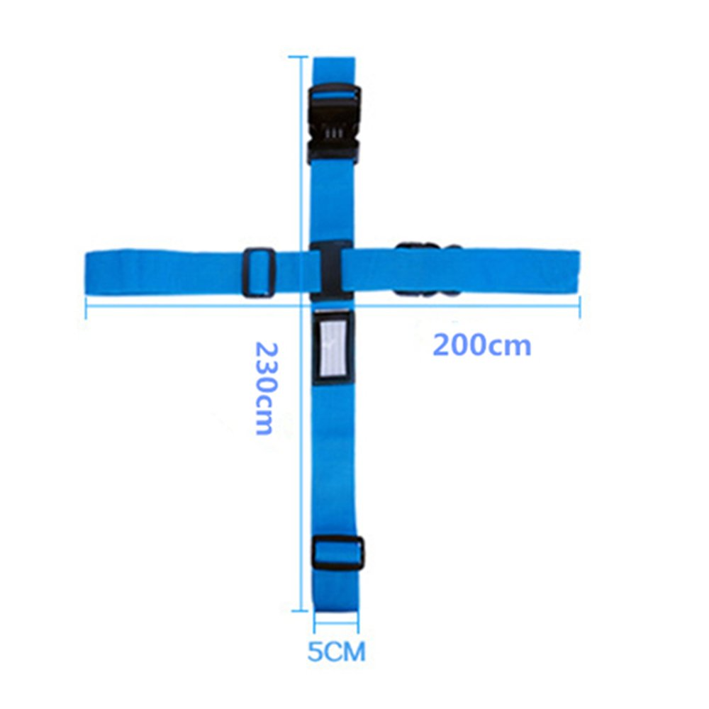 Travel Airport Luggage Strap TSA Lock Long Cross Adjustable Heavy Duty Straps Belt Tag for Suitcase