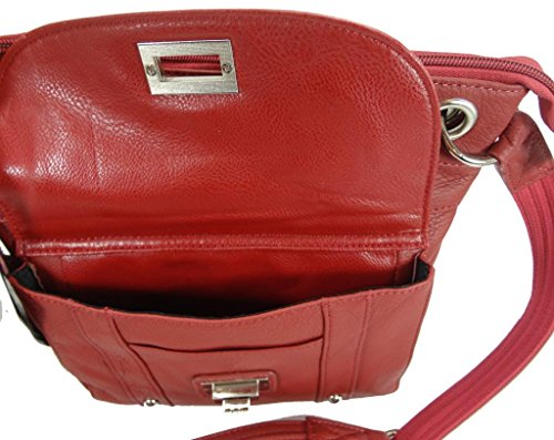 Carry Gun Red Concealed Leather Resistant Purse Cross Body with Slash Strap xOBHpdI