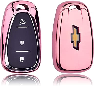 for Chevrolet Key Fob Cover TPU Skin Case Protector with Keychain Compatible with 2020 2019 2018 2017 Chevy Equinox Traverse Malibu Camaro Cruze Blazer Spark Sonic Impala Trax Bolt Pink
