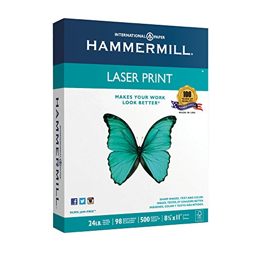 Hammermill Paper, Laser Print, 24lb, 8.5 x 11, Letter, 98 Bright, 500 Sheets/1 Ream (104604), Made In The - Stores At Mall International