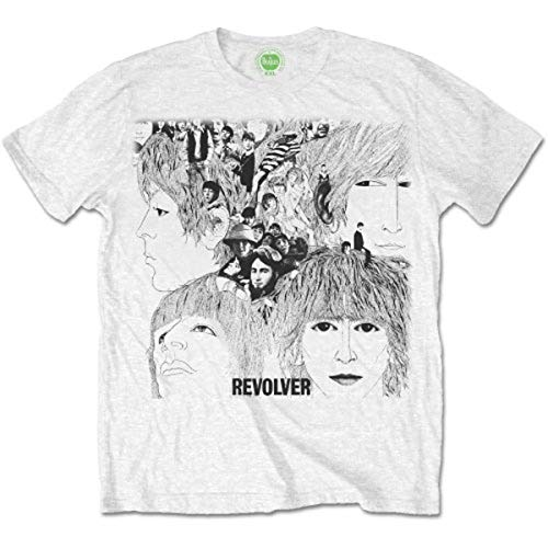The Beatles Men's Revolver Album Cover Short Sleeve T-shirt, White, - Sleeve T-shirt Short Beatles