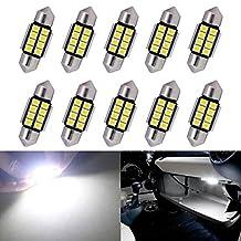KaTur Super Bright 5630 Chipsets Aluminum CanBus Error Free 1.25'' 31mm DE3175 DE3021 DE3022 6428 7065 LED Festoon Car Interior Door Map Dome Lights Xenon White 12V 10-Pack