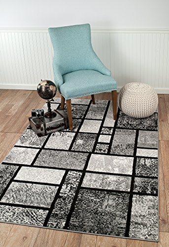Summit 40 New Grey Geometric Modern Abstract Many Sizes Available 3 .8 X 5 , 3 .8 X 5 AREA RUG