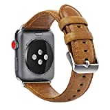 KADES Compatible for Apple Watch Band 38mm Genuine Leather Replacement Strap with Retro Crazy Horse Texture Compatible for Apple Watch 38mm Series 3 Series 2 Series 1, Brown