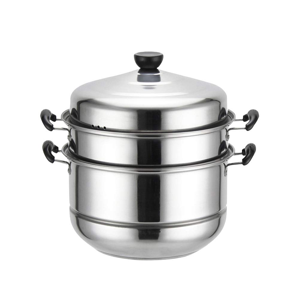 Stainless Steel Three-layer Thick Steamer Multifunction Soup Steam Pot Universal Cooking Pots for Induction Cooker Gas Stove (28cm) (Double-bottom)