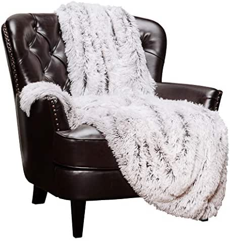 Chanasya Super Soft Shaggy Frosting Tip Longfur Throw Blanket - Snuggly Fuzzy Faux Fur Lightweight Warm Elegant Cozy - for Couch Bed Chair Sofa Daybed Brown Blanket - (50x65) - Brown