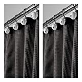 mDesign Long Hotel Quality Polyester/Cotton Blend Fabric Shower Curtain, Rustproof Metal Grommets - Waffle Weave for Bathroom Showers and Bathtubs, Easy Care - 72'' x 84'', Pack of 2, Black