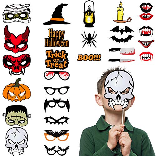 Cosweet 28 pcs Halloween Photo Props Happy Halloween Party Supplies Decorations Photo Props Kit Funny Trick or Treat -