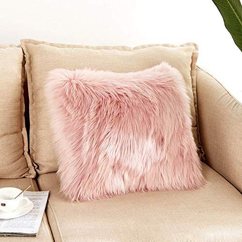 DQMEN Funda Cojines, Funda Almohada de Suave Piel sintetica de Lana, Cojin Cubierta Tiro Funda de Almohada Sofa Decoracion (Rosa, 45 x 45cm)