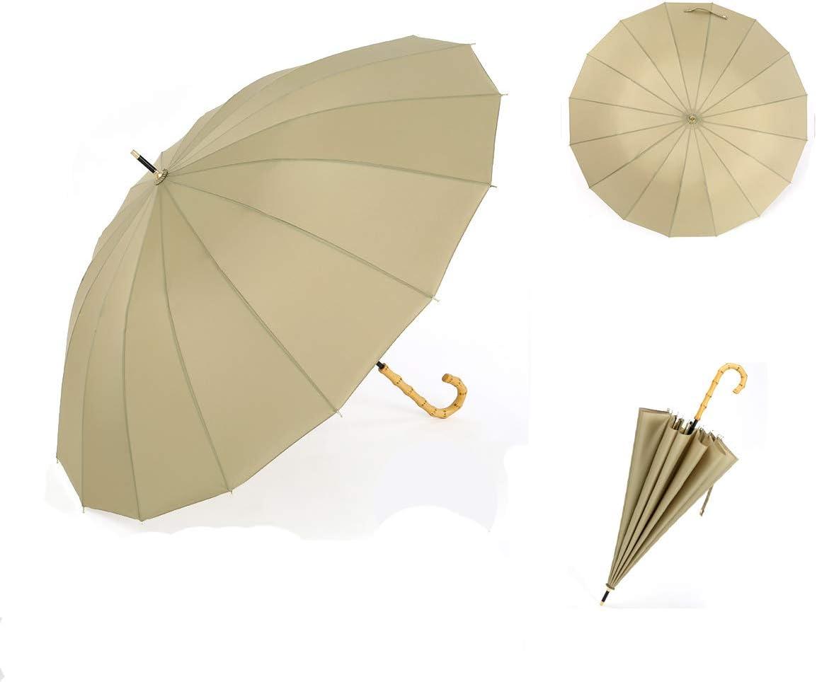 ThreeH Ombrello Viaggio Impermeabile Automatico Ombrello Manico in Legno Antivento Ombrello Classico KS08,Green
