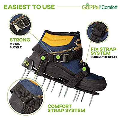 GoPPa Lawn Aerator Shoes – Easiest to USE Lawn Aerator Sandal, You only FIT Once. Ready for aerating Your Yard, Lawn, Roots & Grass – Comfort Design