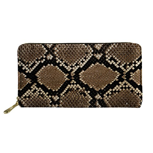 (CHAQLIN 3D Python Print Ladies Wallet PU Leather Purses Credit Card Clutch for Boys)